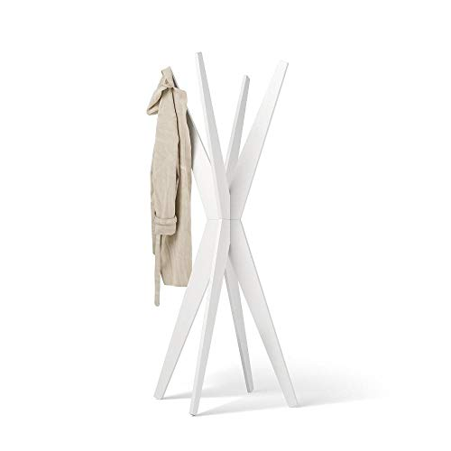 Mobili Fiver, Perchero de Design, Emma, Color Fresno Blanco, 80 x 80 x 170,5 cm, Made in Italy