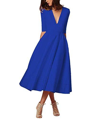 MODETREND Donna Elegante Vestiti Lunghi Collo Profondo V Manica 3/4 Vestito A Pieghe Skater Abito Maxi da Sera Cerimonia Autunno Inverno,Blu,S