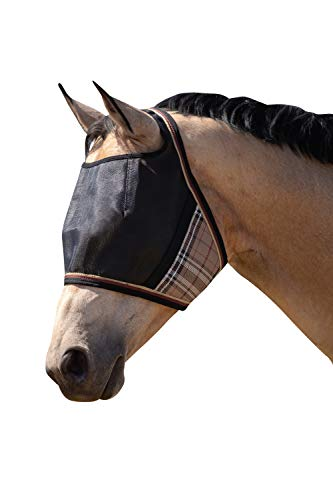 Kensington UViator Protective Fly Mask — Newest UV Solar Screen Protection with a 90% UV Rating — Double Locking CatchMask Fasteners — Non Heat Transferring Fabric (Deluxe Black, Medium)