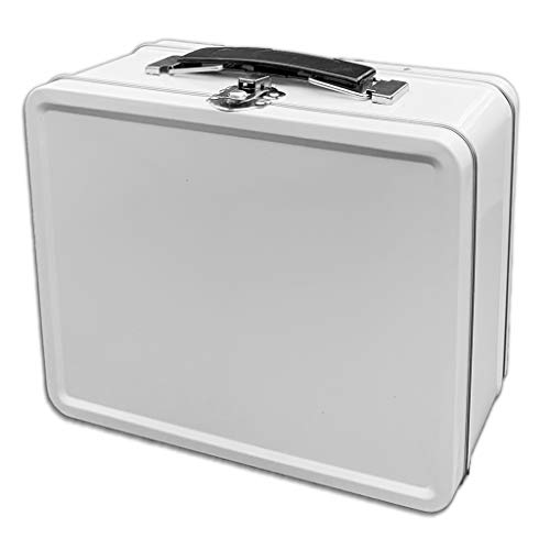 Do It Yourself DIY Medium White Lunch Box Tin for Storage, Crafts and Scrapbook Fun Activities