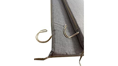 Cuscino per dondolo 4 posti 170*55*6 cm imbottito e rivestito in cotone totalmente sfoderabile compreso di schienale e seduta (Grigio)