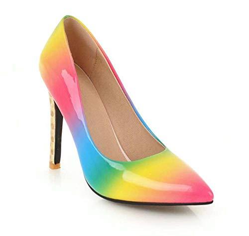 QINGMM Damen wies Pumps 2019 Herbst Neue glamouröse Super High Heel Farbverlauf Regenbogen Lackleder Sandalen Größe 32-47 (Farbe : Rosa, Größe : 34 EU)