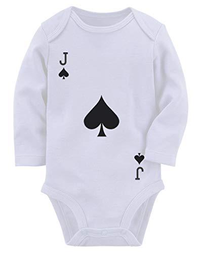 Macaquinho de manga comprida para bebês com cartas de baralho de espadas, Branco, 0-3 meses