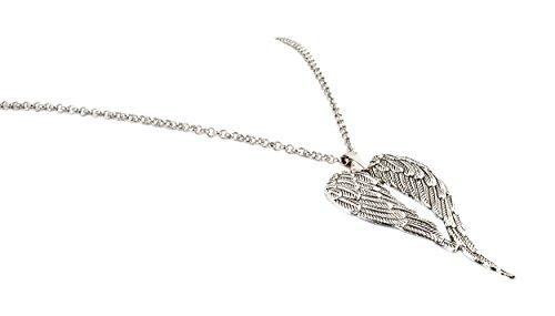 geralin Gioielli larga cadena de mujer con plata alas de ángel colgante vintage