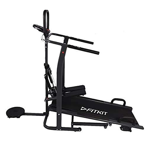 Fitkit FT801 Manual Multifunction Treadmill with Free Installation, Black
