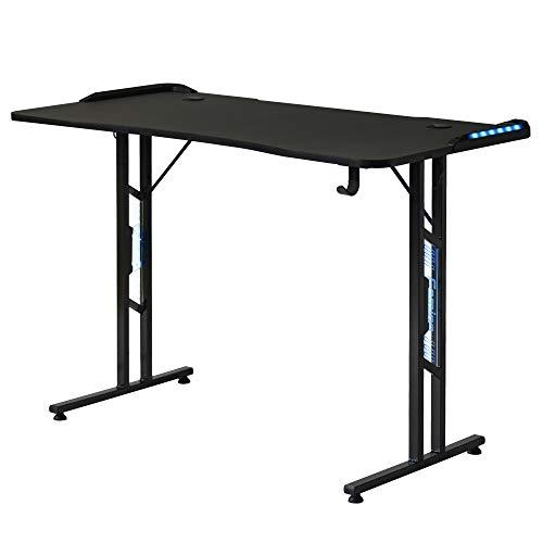 Baywell Gaming Tisch, Gaming Schreibtisch mit LED-Beleuchtung, und Kopfhörerhalter, für E-Sport, Großer...
