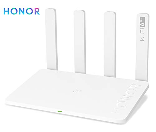 HONOR Router 3 WiFi 6 Plus Router 3000 Mbps High Speed WiFi Gigabit Wireless für Haus / Büro Bandbreite 160 MHz 4 Antennen 5dBi und Ethernet-Ports LAN/WAN