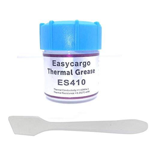 Easycargo - Kit di pasta termica da 20 g, grasso conduttivo, dissipatore di calore, composto di carbonio in silicone bianco per raffreddamento interfaccia CPU GPU VGA LED Transistor (20 gr)