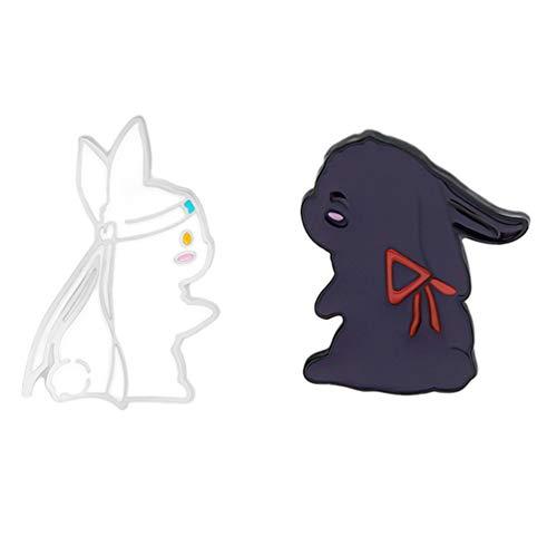 SOIMISS 2 Piezas Gran Maestro de Cultivo Demoniaco Wangji Wonxian Conejo Conejito Broches Pin de Solapa para Los Fans del Anime de Mo Bao Hu Shi Favor de La Fiesta de Pascua