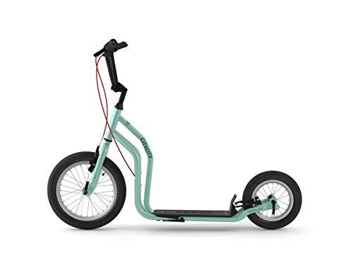 Yedoo City Tretroller - ab 140 cm Körperhöhe, bis 120 kg, mit Luftreifen 16/12 - Cityroller für Erwachsene und Kinder mit verstellbaren Lenker und Ständer, blau