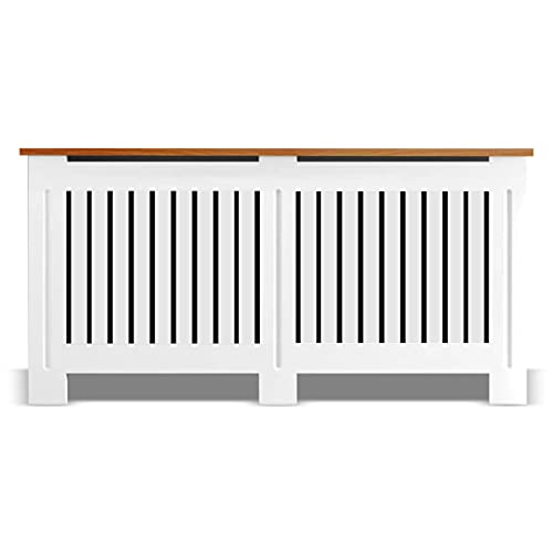 Arlington Radiator Cover White Modern Extra Large Radiator Covers Shelf Tall Radiator Cover 90cm High Chelsea Wooden Grill MDF Living Room Cabinets Wood Top Shelf Hallway Furniture (82 x 172 x 19 cm)