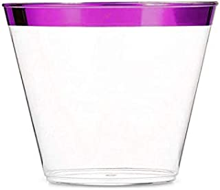 100 9oz Disposable Purple Rim Custom Design Old Fashion Tumbler Fancy Plastic Cups Perfect for Wedding Holiday Or Birthday Party