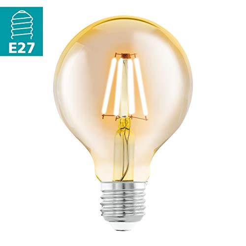 EGLO LED E27 Lampe, Amber Vintage Glühbirne, LED Globe für Retro Beleuchtung, 4 Watt (entspricht 30 Watt), 330 Lumen, E27 LED warmweiß, 2200 Kelvin, LED Leuchtmittel, Edison Glühbirne G80, Ø 8 cm