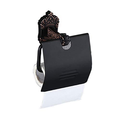 RetroToilettenpapierhalter Aluminium ohne Bohren, Wasserdicht WC-Papierrollenhalter mit Deckel Wandmontage Klorollenhalter (Schwarz)