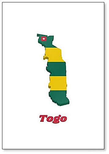 Kühlschrankmagnet, Motiv Karte & Flagge von Togo