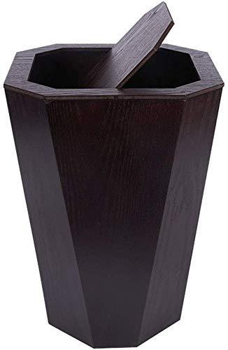 Basura puede Papelera de madera Papelera, bote de basura for el dormitorio Cocina de la oficina dormitorio de la universidad, 6.5Gallon de desecho pueden marrón Agitar la Papelera de reciclaje Papeler
