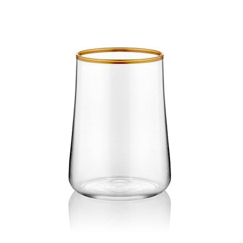 Koleksiyon Kleines Wasserglas zum Kaffee transparent stilvoll mit Goldrand 120ml 6er Set