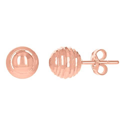 Pendientes de oro rosa de 14 quilates para mujer, 8 mm, joyería para regalo para mujer