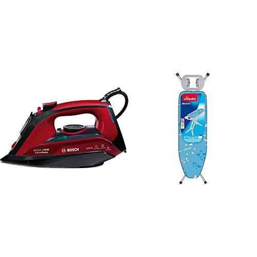 Bosch Plancha A Vapor TDA503001P 3000W, 800 W, 1.2, Cerámica, Negro/Rojo/Granate + Vileda Bravo Tabla de planchar, azul