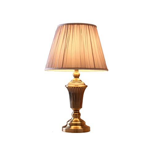 Hong Yi Fei-Shop Lampara Mesilla Lámpara de cabecera Moderna con Pantalla de Tela de Dormitorio, lámpara de Mesa de Metal marrón de Hotel Dormitorio Lámpara de Mesa (Color : Remote Control Switch)