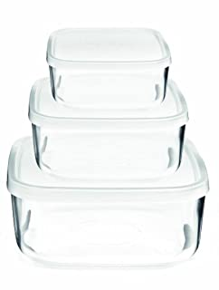 Bormioli Rocco Frigoverre Square Glass Food-Storage Containers with Lids, Set of 3, Clear (B0000DDVN5) | Amazon price tracker / tracking, Amazon price history charts, Amazon price watches, Amazon price drop alerts