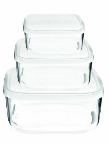 Bormioli Rocco 388550SB4021990 Frigoverre Square Glass Food-Storage Containers with Lids, Set of 3, Clear