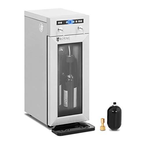 Royal Catering Distributeur De Vin Au Verre Cave À Vin Frigo Réfrigérateur RC-WDSS2 (Puissance 95 W, 2 Bouteilles, 7-18 °C, Afficheur LED, Inox, Verre, Plastique)