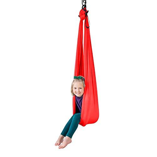 LHHL Strapazierfähige Indoor-Therapie-Schaukel, elastische Aerial-Yoga-Hängematten-Set, multifunktional, für Anfänger und Profis (Farbe: Rot, Größe: 150 x 280 cm)