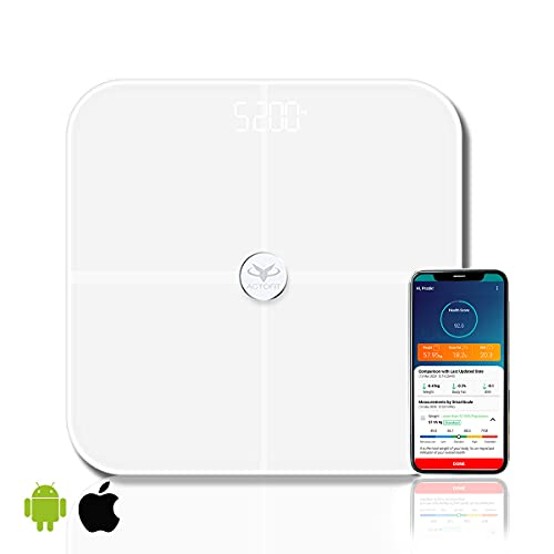 Actofit Body Fat Analyser Smart Scale with Complete Digital Body Composition Monitor Including BMI, Skeletal Muscle, Protein, Fat and AI Health Chatbot (White)