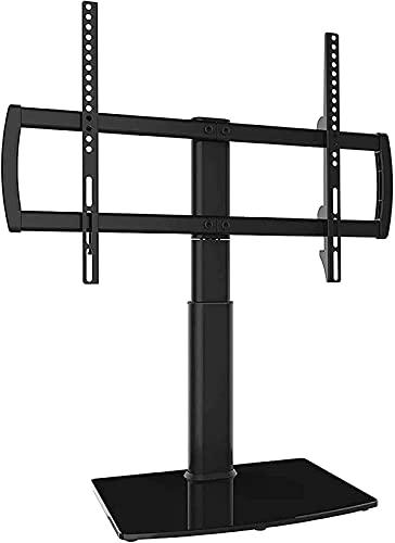 dfff Soporte Giratorio Universal para TV/Mesa Base Soporte para TV Base de Vidrio Templado Resistente Ajustable en Altura de 4 Niveles (Color: Negro)