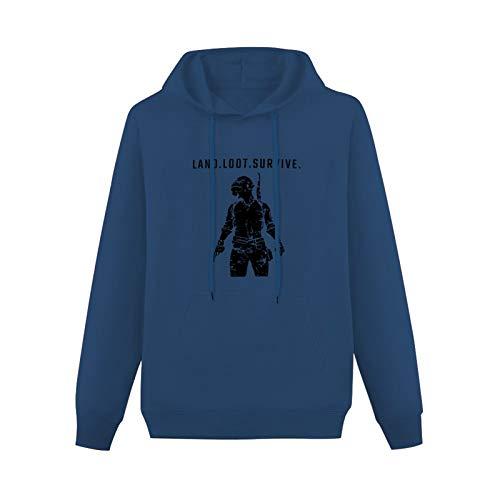 Long Sleeve Sweatshirt STUFF4 PUBG/Land Loot Survive/SZ Cotton Pullover HoodieNavyL
