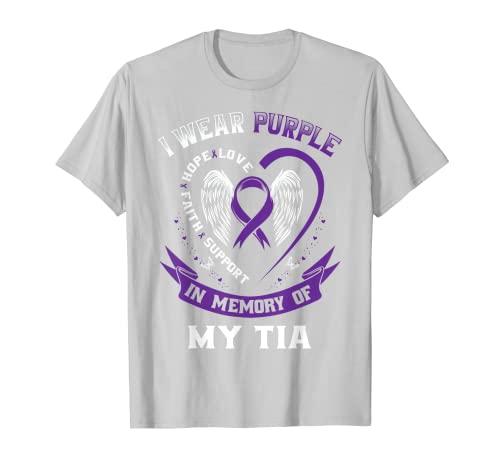 Púrpura En Memoria De Mi Tia Alzheimers Demencia Tía Español Camiseta