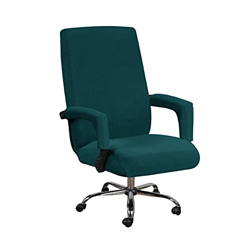 THJ Stretch-Bürostuhl-Sitzbezüge Mit Armlehnenhülle,Jacquard-Muster Computerstuhl-Bezüge Mit Hoher Rückenlehne Abnehmbare Dehnbare Bezüge (Dunkelgrün,XL)