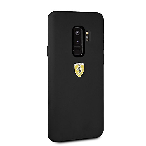 Ferrari Phone Case for Samsung Galaxy S9 Plus Silicone Case Black with Soft Microfiber Interior Easy Snap-on Shock Absorption Cover Officially Licensed.