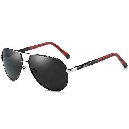 WHSS Gafas de sol Moda Wild Color Film Nuevo Material de Metal Polarizado Gafas de sol Marco Dorado/Plata Lente Negra Gafas de sol de conducción para hombre (Color: Plata)