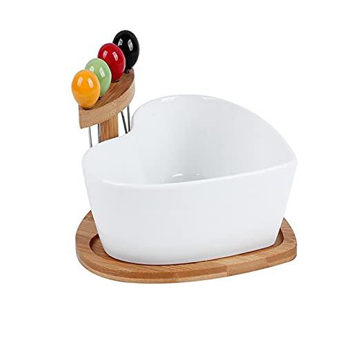 Hjärtad keramisk skål med gaffel, vit porslin servering maträtt med träplatta för mellanmål soppa efterrätt mixing skål, charmig fruktskål liten salladskål,White