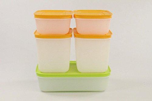 TUPPERWARE Recipiente para congelador, 1,0 l, verde y blanco, 450 ml (2) + 1,1 l (2) naranja y blanco 27960