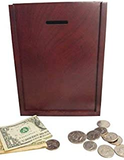MCB Finished Natural Wood Charity Donation & Suggestion Box Ballot Box with Side Pocket - with Hinged Lid and Safety Lock ...