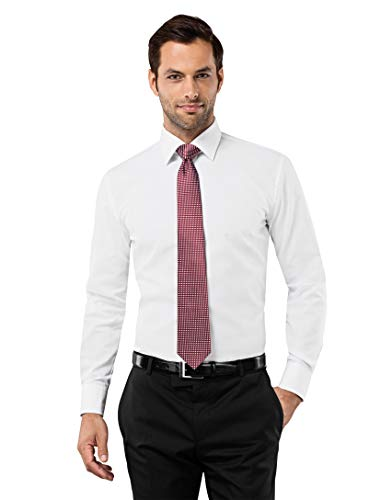 Vincenzo Boretti Herren-Hemd bügelfrei 100% Baumwolle Slim-fit tailliert Uni-Farben - Männer lang-arm Hemden für Anzug Krawatte Business Hochzeit Freizeit weiß 39-40