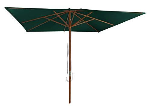 Pure Home & Garden Holz Sonnenschirm Odun 300 x 300 cm dunkelgrün, mit UV-Schutz 50 Plus und abnehmbarem Bezug