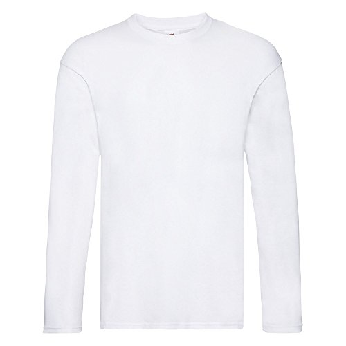 Fruit of the Loom - T-Shirt Manches Longues Original - Homme (M) (Blanc)