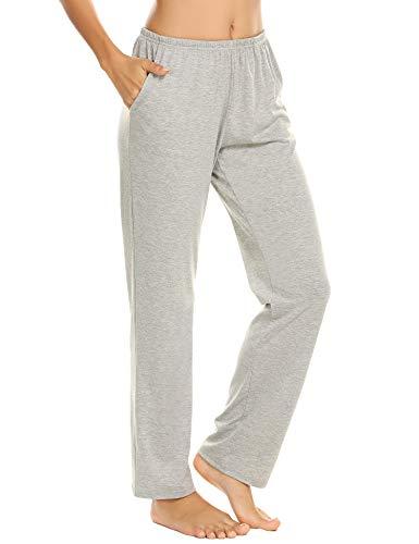 Schlafanzughose Damen Pyjamahosen Lang Jerseyhose Unifarbe Hausehose mit Zwei Taschen, 9750_grau, Gr.- XL
