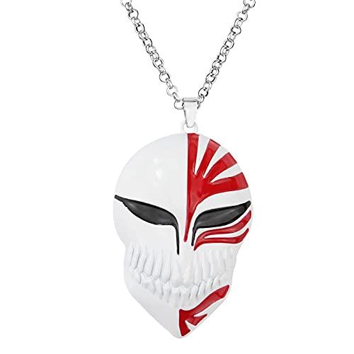Anime Peripheral Bleach Logo Collar Kurosaki Ichigo Máscara Forma Colgante Collar Suéter Cadena