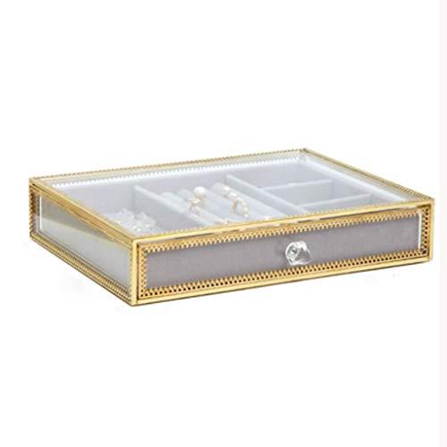 XYZMDJ Caja de Almacenamiento de joyería de acrílico Transparente, Pendientes de Collar Pendientes Pendientes Pantalla Soporte de exhibición, Hogar