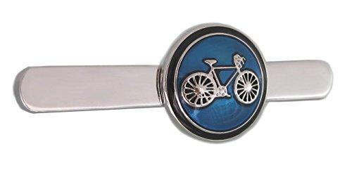 keine Marke Fahrrad Krawattenklammer Krawattennadel kurz silbern + schwarzer Blauer Lack + Box für Radler und Sportler
