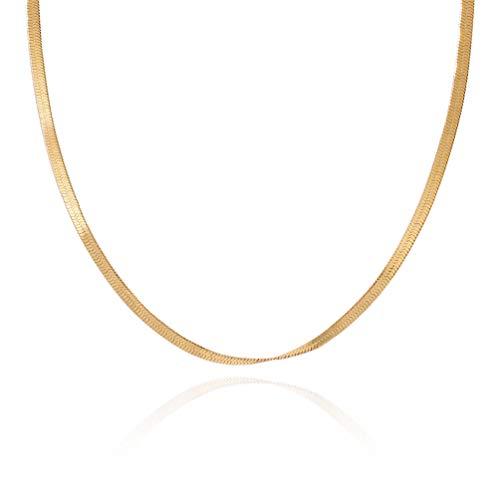 HIJONES Gargantilla con Cadena de Serpiente para Hombre y Mujer de Acero Inoxidable Oro 60 cm 3 Mm Ancho
