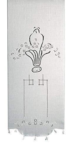 Zenoni & Colombi Coppia di Tende Ricamate a Mano Liberty Made in Italy Misto Lino Varie Dimensioni (64x170cm)