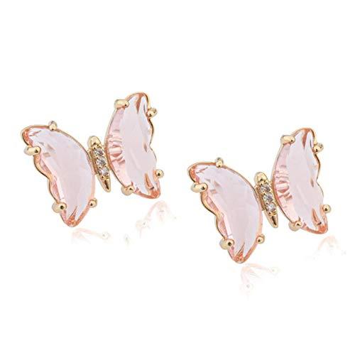 SALAN Pendientes De Mariposa De Cristal Transparente para Mujeres Moda Moda Coreano Stud Pendiente Joyería Regalos
