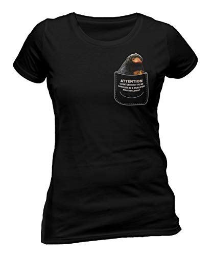 Fantastic Beasts The Crimes of Grindelwald 'Niffler In My Pocket' (Black) Womens Fitted T-Shirt (Large)
