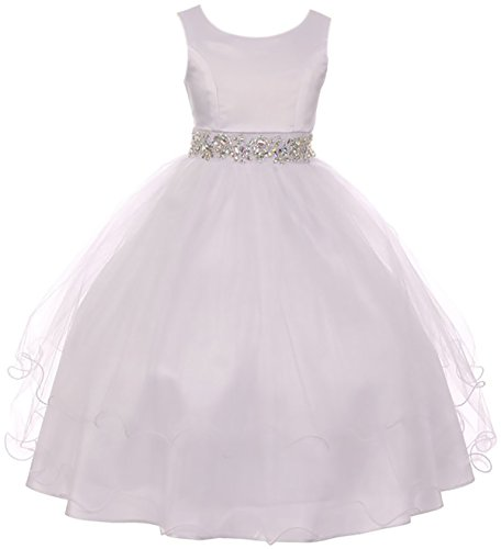 BNY Corner Big Girl Sleeveless Rhinestone Formal First Communion Flower Girl Dress White 10 MBK 374